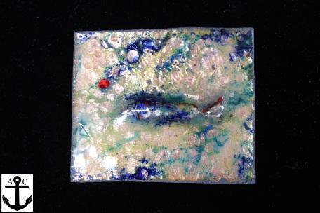 Fisch I (Emaille auf Kupfer, getrieben)