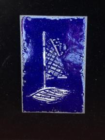Boot II (Emaille und Feinsilber auf Kupfer)
