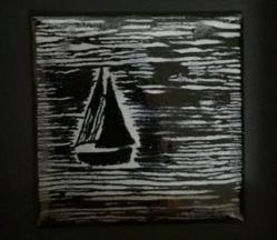 Einsam (Emaille auf Kupfer)